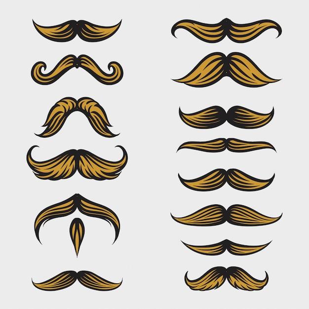 Coleção de bigode movember com estilo de desenho a mão Vetor Premium