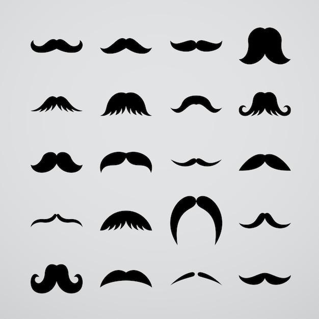 Coleção de bigode preto Vetor Premium