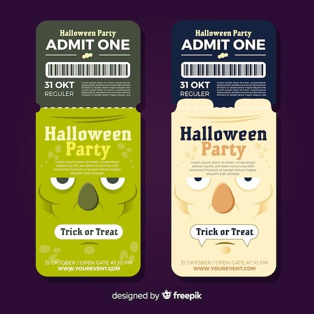Coleção de bilhetes de festa de halloween Vetor grátis