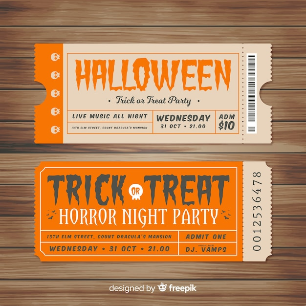 Coleção de bilhetes de festa vintage halloween Vetor grátis