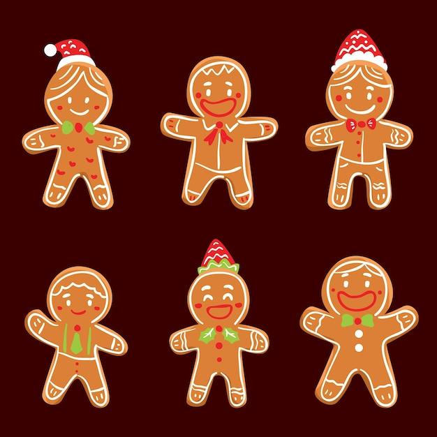 Coleção de biscoitos de gengibre de mão desenhada Vetor grátis