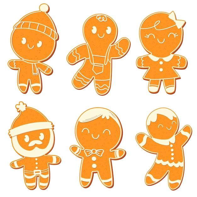 Coleção de biscoitos de homem-biscoito desenhado à mão Vetor Premium