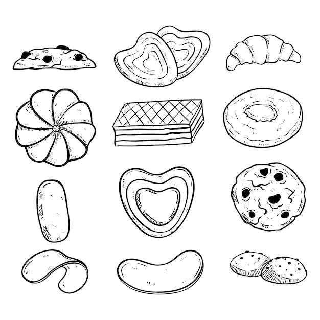 Coleção de biscoitos preto e branco com estilo mão desenhada Vetor Premium