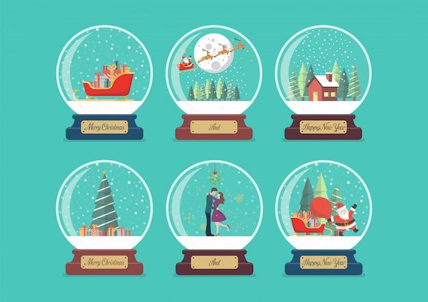 Coleção de bola de vidro feliz natal Vetor Premium