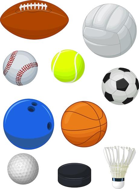 Coleção de bolas de esporte Vetor Premium