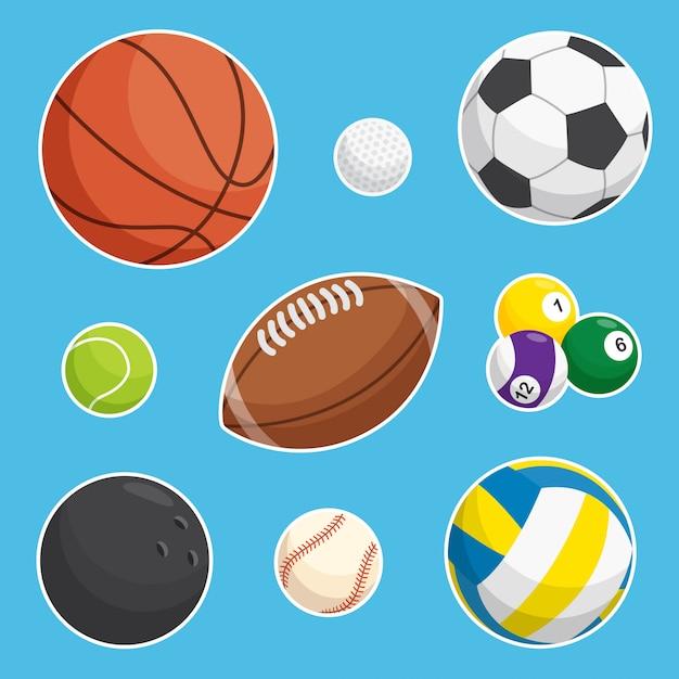 Coleção de bolas esportivas Vetor Premium