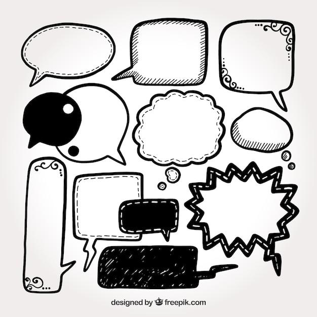 Coleção de bolha de fala desenhada a mão Vetor grátis