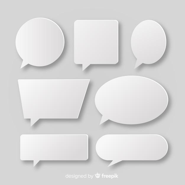 Coleção de bolha do discurso branco em estilo de jornal Vetor Premium