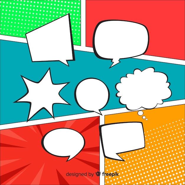 Coleção de bolha do discurso em quadrinhos Vetor grátis