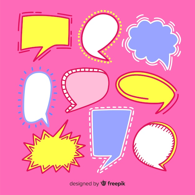 Coleção de bolha do discurso mão desenhada no fundo rosa Vetor grátis