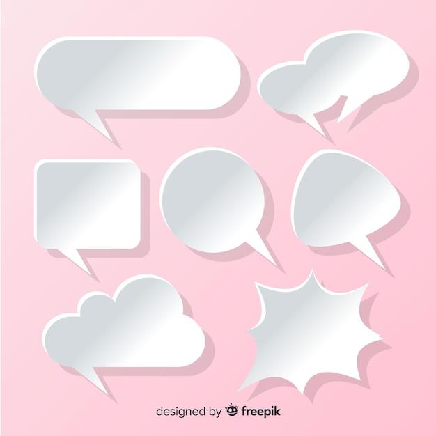 Coleção de bolha plana discurso em estilo de papel rosa de fundo Vetor grátis