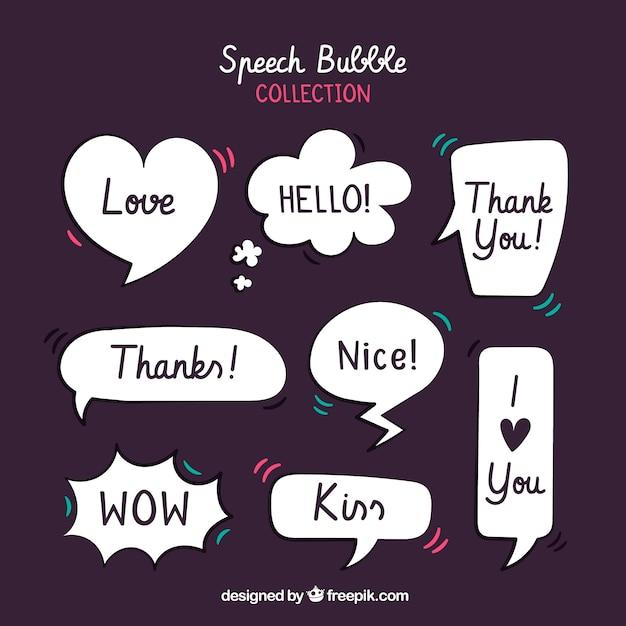 Coleção de bolhas de discurso de estilo retro com mensagens Vetor grátis