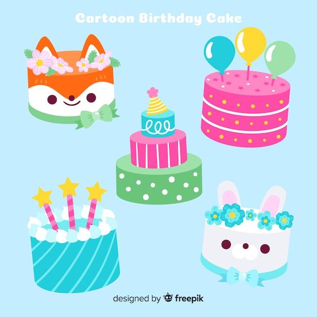 Coleção de bolo de aniversário plana Vetor grátis