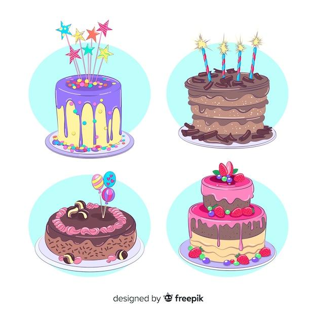 Coleção de bolo de aniversário Vetor grátis
