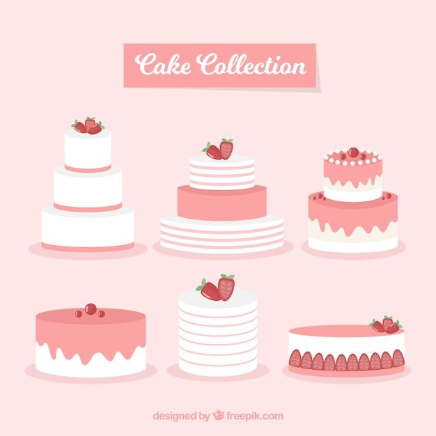 Coleção de bolos deliciosos em estilo plano Vetor grátis