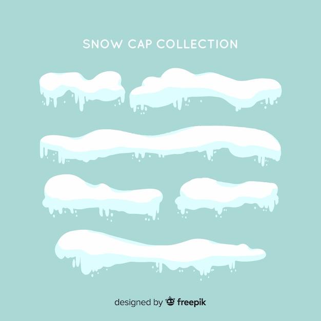 Coleção de boné de neve plana Vetor grátis