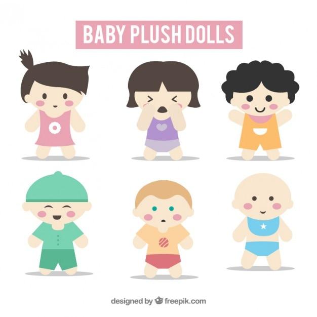 Coleção de boneca bebê agradável Vetor grátis