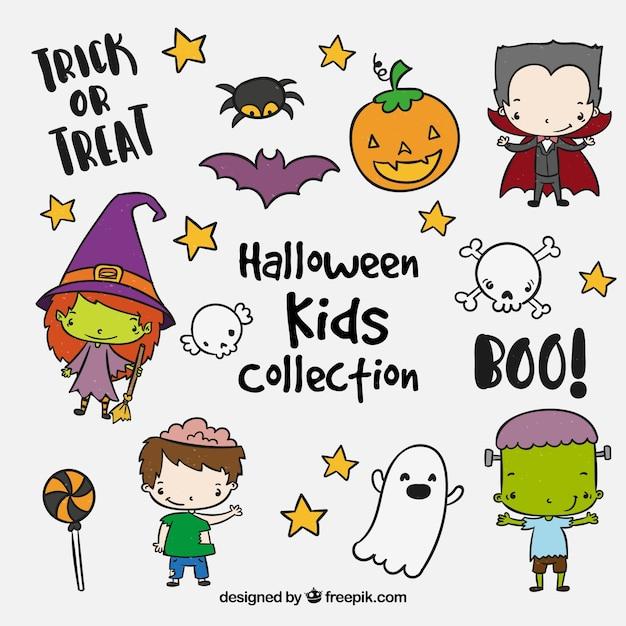 Coleção de bonitos filhos do dia das bruxas Vetor grátis