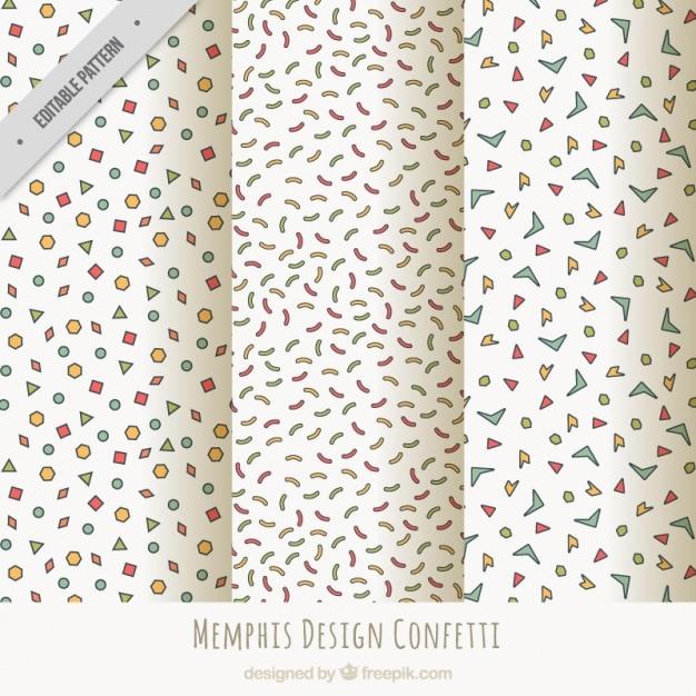 Coleção de bons padrões com confetti e flâmula Vetor grátis