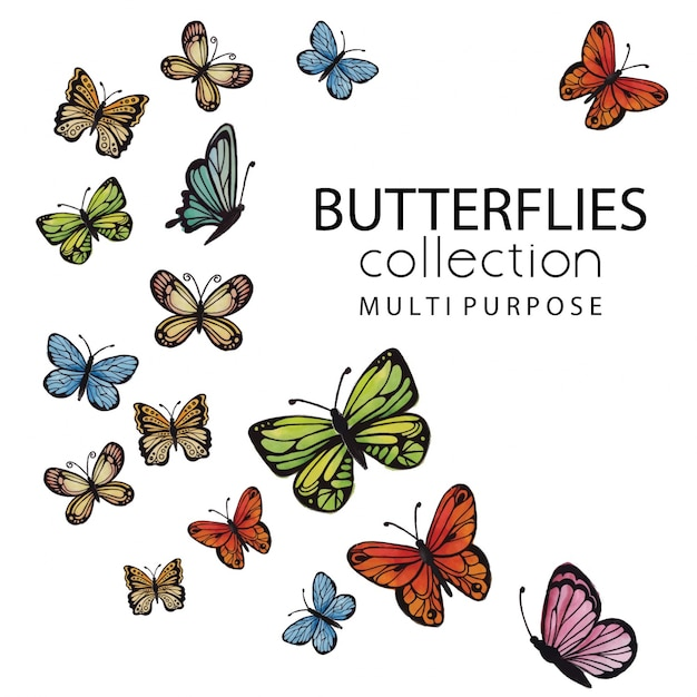 Coleção de borboletas de acuarela multipurpose Vetor grátis