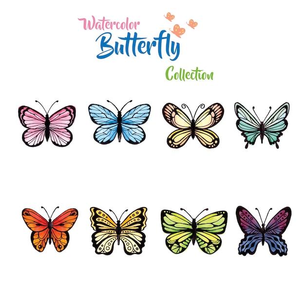 Coleção de borboletas de aquarela Vetor grátis
