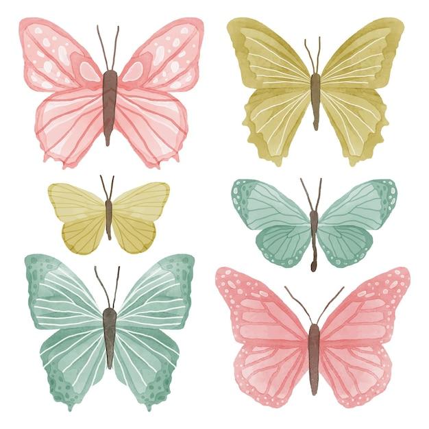 Coleção de borboletas em aquarela fofa Vetor grátis
