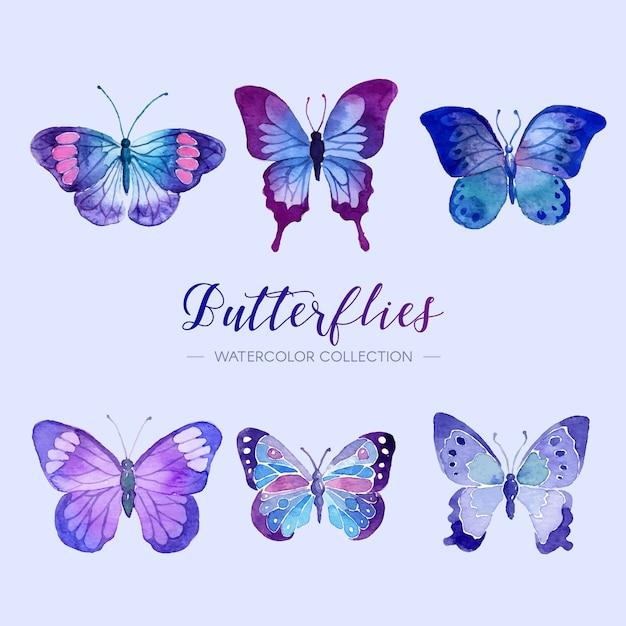 Coleção de borboletas em aquarela Vetor grátis