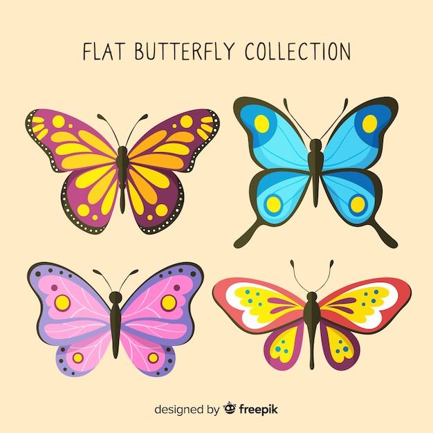 Coleção de borboletas planas Vetor grátis