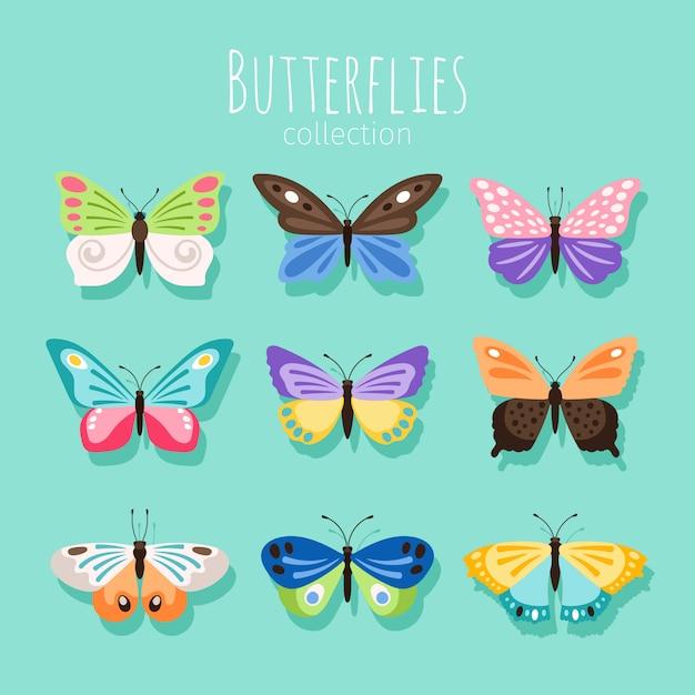 Coleção de borboletas Vetor Premium
