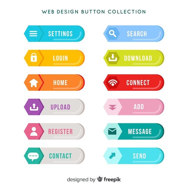 Coleção de botão colorido web design com design plano Vetor grátis