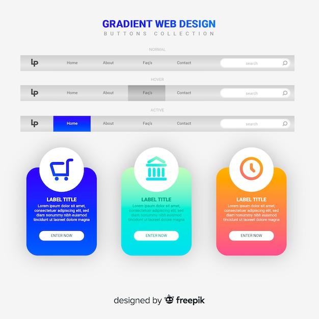 Coleção de botão web no estilo gradiente Vetor grátis