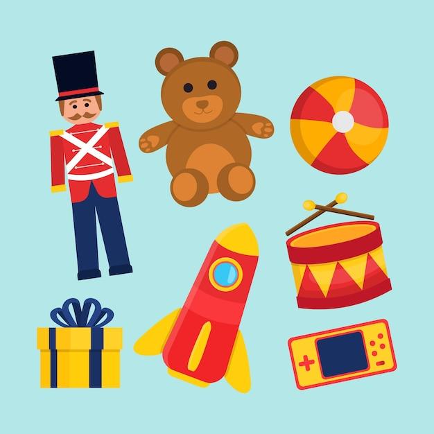 Coleção de brinquedos de natal com urso e soldado Vetor grátis