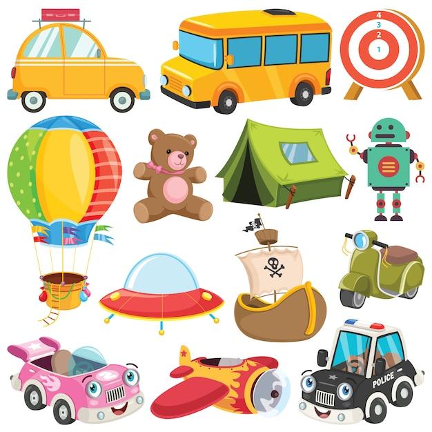 Coleção de brinquedos e objetos coloridos Vetor Premium