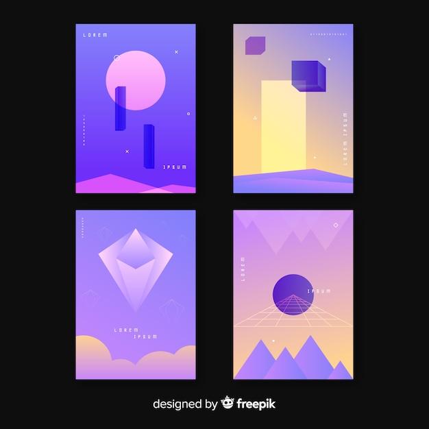 Coleção de brochura de formas geométricas flutuante Vetor grátis