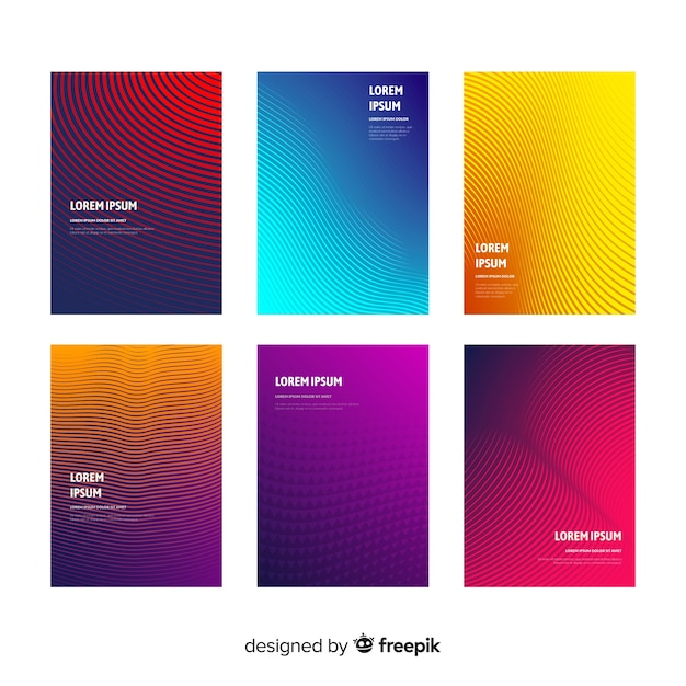 Coleção de brochura de linhas de gradiente Vetor grátis