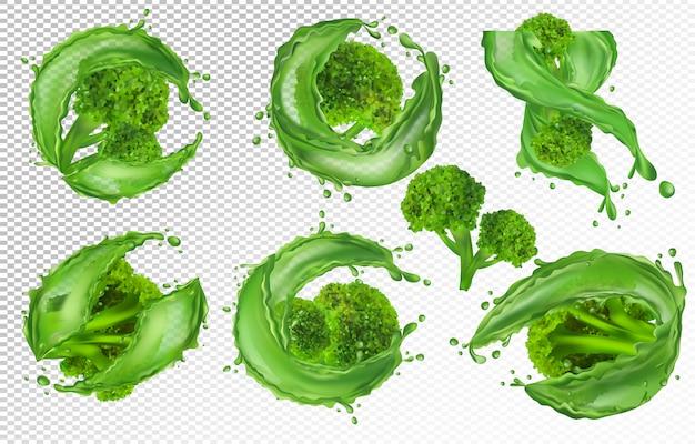 Coleção de brócolis frescos, vegetais. repolho de brócolis com respingo de líquido, produto natural Vetor Premium
