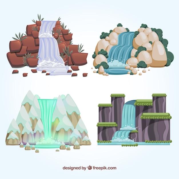 Coleção de cachoeiras em estilo cartoon Vetor grátis