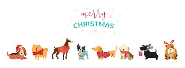 Coleção de cachorros de natal, ilustrações de feliz natal de bichinhos fofos Vetor Premium