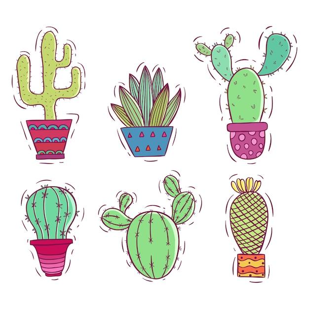 Coleção de cacto colorido doodle Vetor Premium