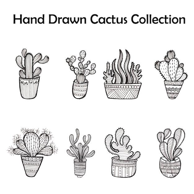 Cole o de cactos preto e branco baixar vetores gr tis - Coloriage cactus ...