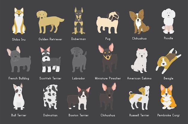 Coleção de cães Vetor grátis