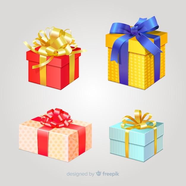 Coleção de caixa de presente de natal realista Vetor grátis