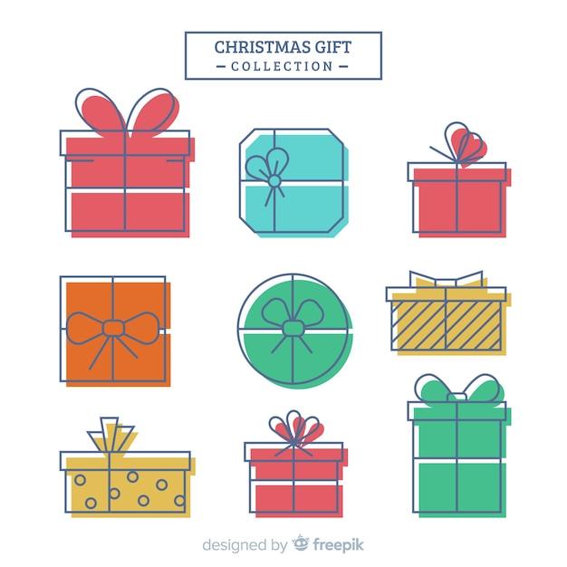 Coleção de caixas de presente de natal colorido Vetor grátis
