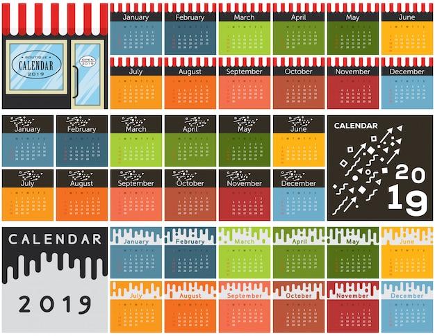 Coleção de calendário 2019 Vetor Premium