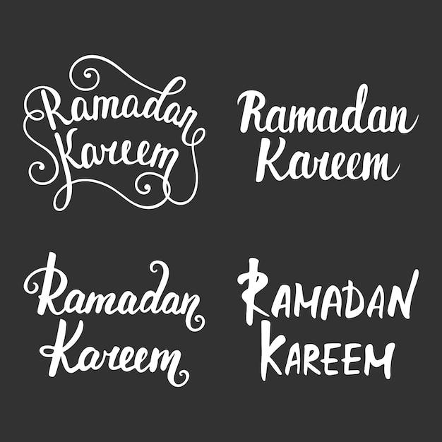 Coleção de caligrafia moderna de ramadan kareem Vetor Premium