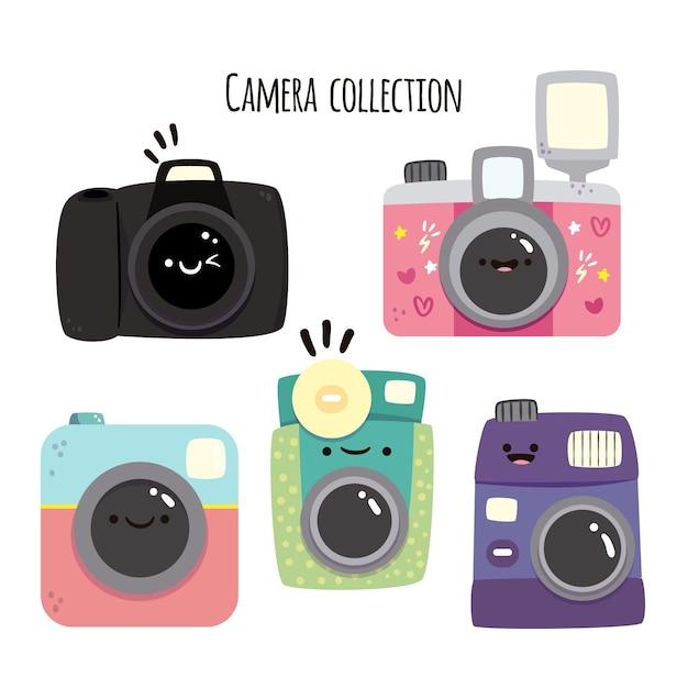 Coleção de câmera engraçada Vetor Premium