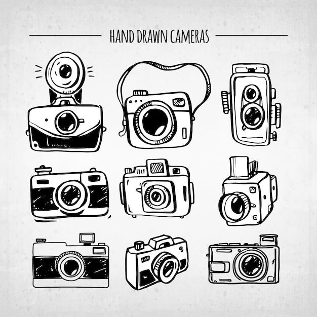 Coleção de câmera vintage divertida desenhada a mão Vetor Premium