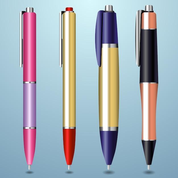 Coleção de caneta realista colorida Vetor Premium