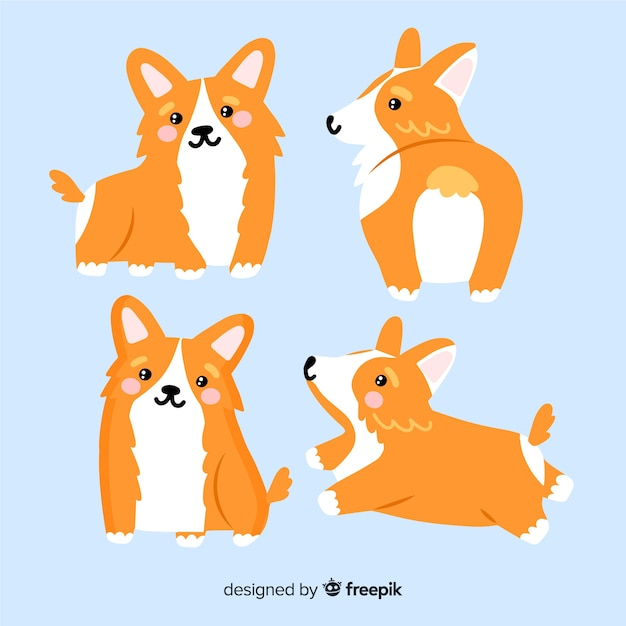 Coleção de cão adorável mão desenhada Vetor grátis
