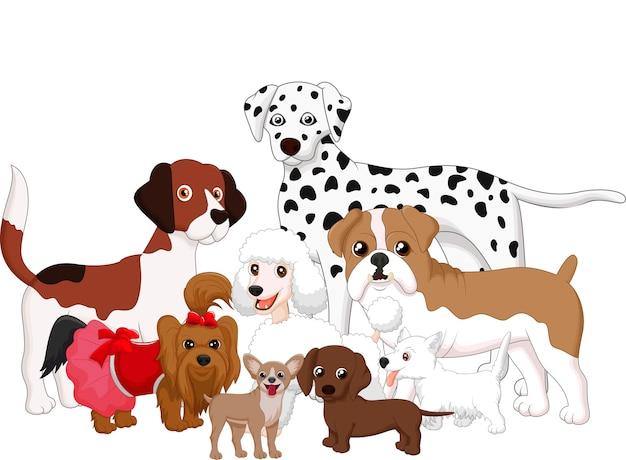 Coleção de cão dos desenhos animados Vetor Premium